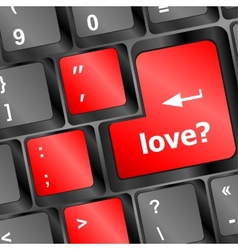Love with question sign button word on keyboard vector