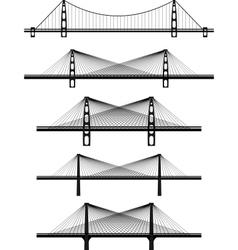 Metal cable suspension bridges vector