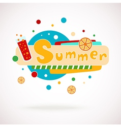 Colorful word summer with glass of juice vector