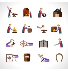 Blacksmith icons set vector