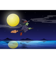 A witch riding on a broom travelling in the middle vector