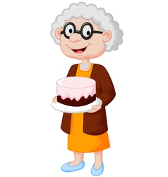 Grandmother with birthday cake vector