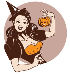 Halloween pinup girl vector