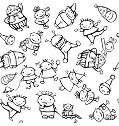 Seamless pattern of fun kids vector