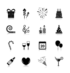 Celebration icons black vector