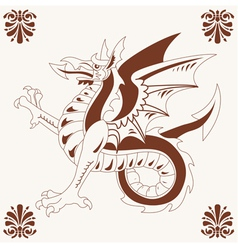 Vintage medieval dragon vector