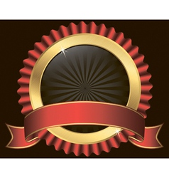 Golden label with red ribbon vector