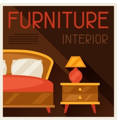 Interior with furniture in retro style vector