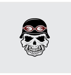 Skull in helmet biker theme design template vector