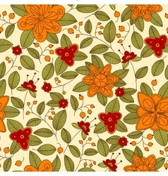 Red or orange flowers and berries seamless pattern vector