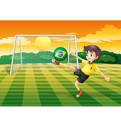 A lady using the ball from brazil vector