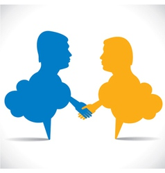 People like message bubble hand shake vector