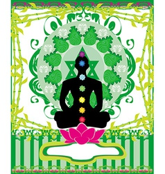 Yoga lotus pose padmasana with chakra points vector