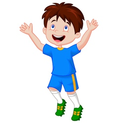 Children celebrate his goal vector