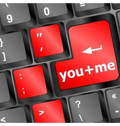 You plus me message on keyboard enter key vector
