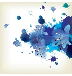 Abstract background with splash and floral vector