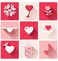 Set icons for romantic events vector