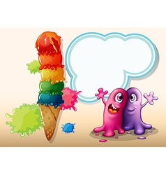 Two monsters near the giant ice cream vector