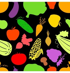 Vegetables seamless pattern dark background with vector