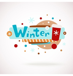 Colorful word winter with coffee cup vector