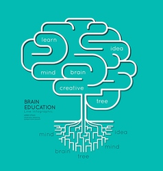 Flat linear infographic education outline brain vector