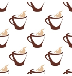 Seamless pattern of coffee cup with cream vector