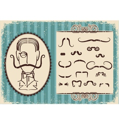 Man portrait and mustaches retro vector