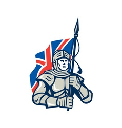 Knight british flag retro vector