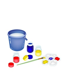 Color paint jars and palette with a bucket vector