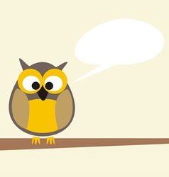 Funny talking owl sitting on the tree vector