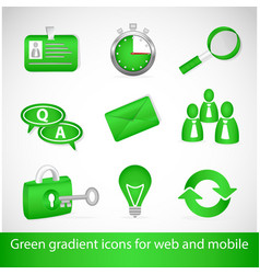 Green gradient icons for web applications and vector