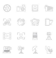 Photography icons outline vector
