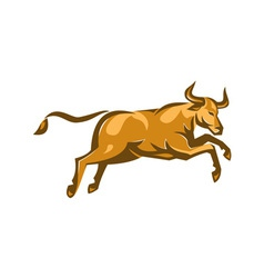 Texas longhorn bull jumping side retro vector