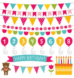 Kid birthday party decoration set vector