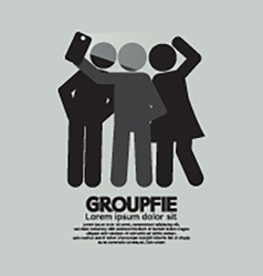 Groupfie symbol a group selfie by phone vector