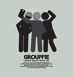 Groupfie symbol a group selfie by phone vector
