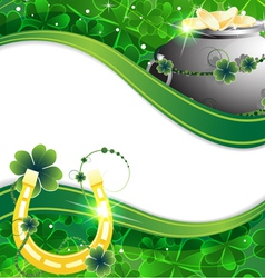 Pot of gold coins and horseshoe vector