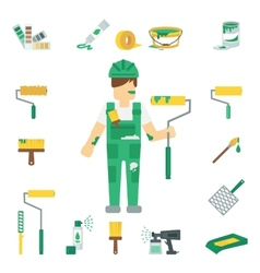 House painter flat set vector