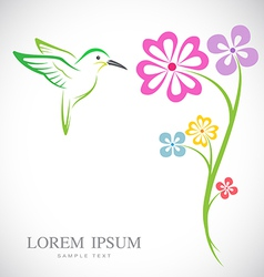 Hummingbird and flowers vector