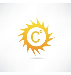 Sun and celsius mark icon vector