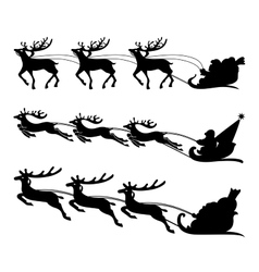 Santa on a sleigh with reindeers vector