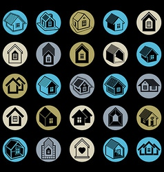 Simple cottages collection vector