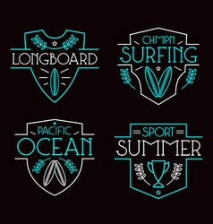 Surfing badges and icons vector