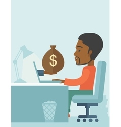 African businessman with his laptop vector