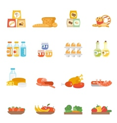 Supermarket food set vector