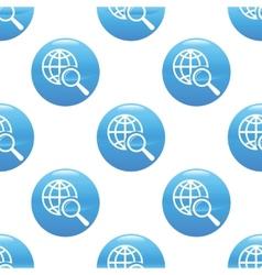 Globe under loupe sign pattern vector