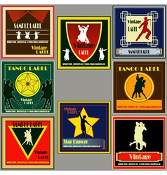 Dance vintage label set vector