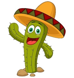 Cute cactus cartoon character vector