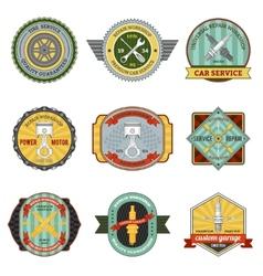 Repair workshop retro badges vector