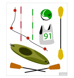 Set of canoe or kayak equipment on white vector